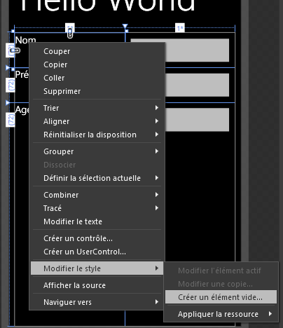 Modification du style dans Blend