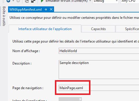 Le concepteur permettant de modifier la page XAML de démarrage de l'application