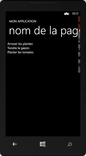 Une ListBox contenant 3 éléments positionnés par XAML
