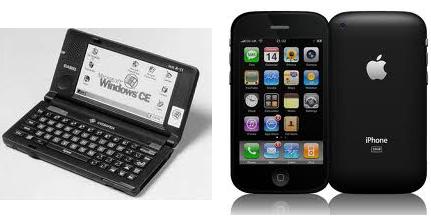 Un Windows CE et un IPhone