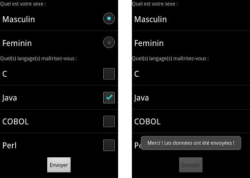 À gauche, au démarrage de l'application ; à droite, après avoir appuyé sur le bouton « Envoyer »