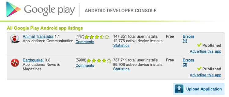 Des applications sur le Google Play