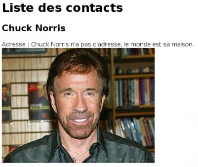 L'adresse de Chuck Norris !