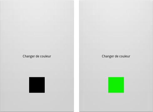 On a un petit carré en bas de notre bouton (écran de gauche) et dès qu'on appuie sur le bouton le carré change de couleur (écran de droite)
