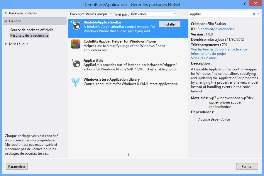 Utilisation de NuGet pour télécharger la barre d'application bindable