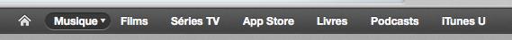 Barre des menus de l'iTunes Store