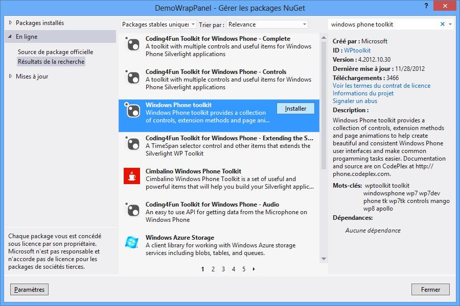 Utilisation de NuGet pour télécharger le Windows Phone Toolkit