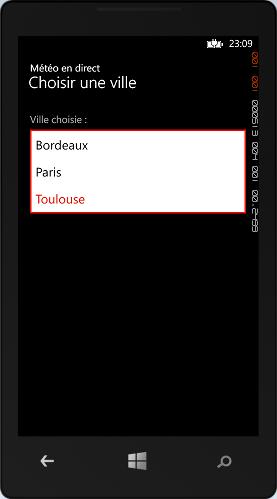 L'écran de choix d'une ville