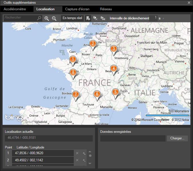 Simuler la géolocalisation dans les outils de l'émulateur