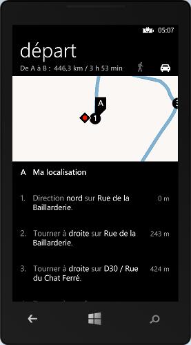 Calcul d'itinéraire grâce au launcher