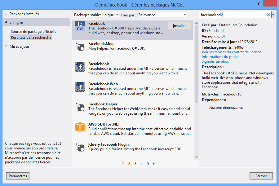 Le SDK Facebook via NuGet