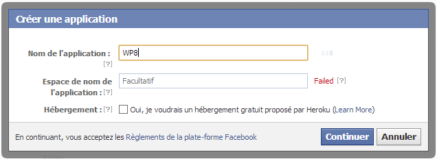 Donner un nom à l'application Facebook