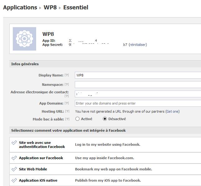 Finalisation de la création de l'application Facebook