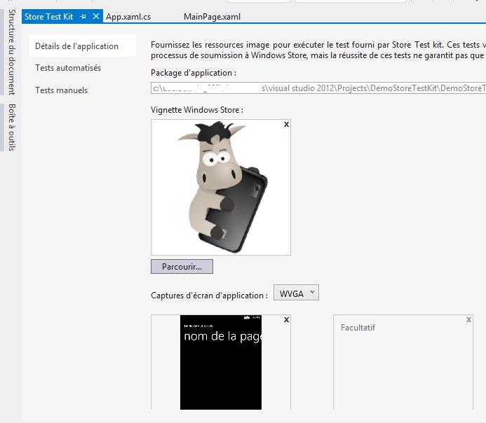 Les images de l'application sont définies dans le Store Test Kit