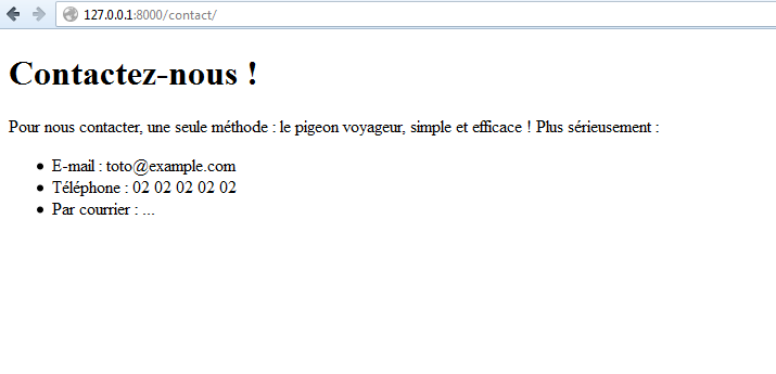Exemple de page de contact utilisant « Flatpages »