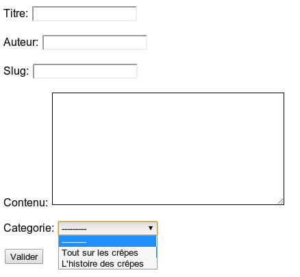 Le choix de la catégorie apparaît dans le formulaire