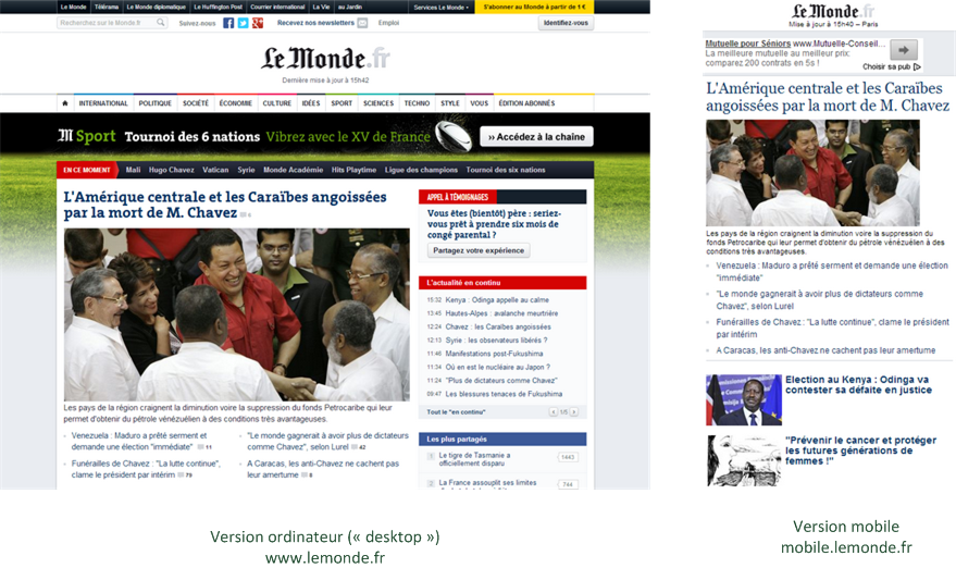 Les deux sites du journal Le Monde