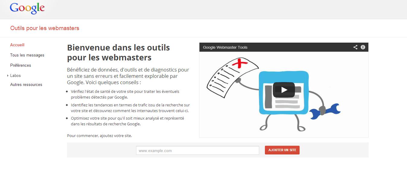La page d'accueil des outils pour les webmasters