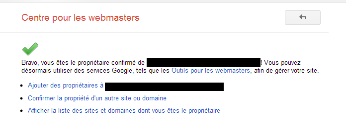 Message de confirmation d'accès aux outils pour webmasters