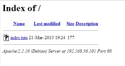 Page par défaut avec index.tutu