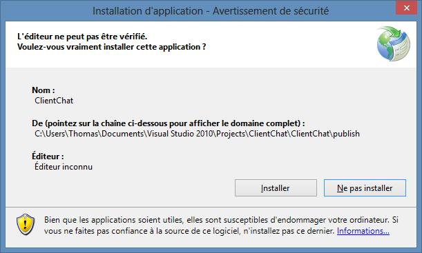 Êtes-vous sûrs de vouloir installer l'application ?
