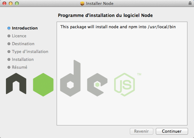 L'installation de Node.js sous Mac OS X