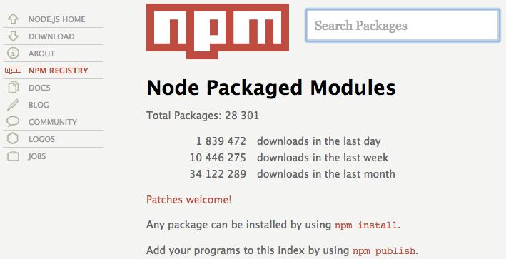 Le site web de NPM