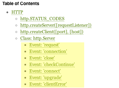 The Node.js documentation shows the events that the objects emit