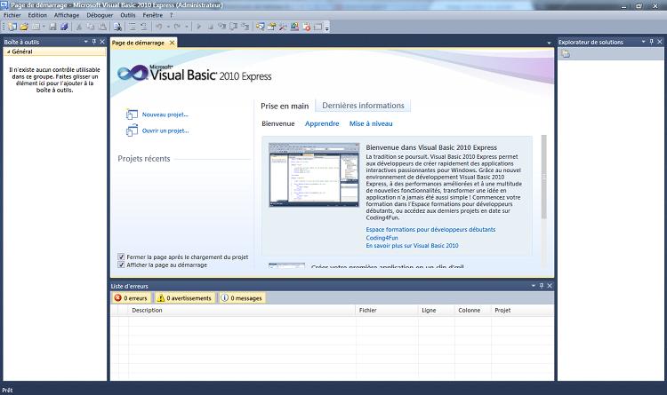 Historique et Visual Basic Express 2010 - Apprenez à