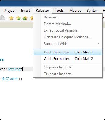 2. Sélectionner l'option 'Code Generator'