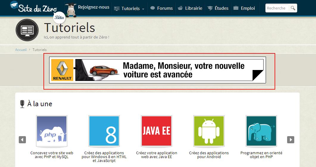 La page d'accueil du Site du Zéro avec une publicité présente dans les 600 premiers pixels encadrée en rouge