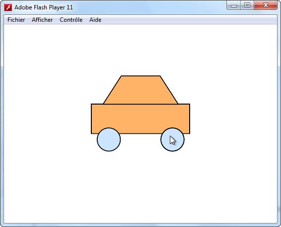 Les différents objets de la voiture à l'intérieur du Flash Player