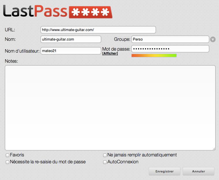 Modifier les informations sur le mot de passe avant de l'enregistrer