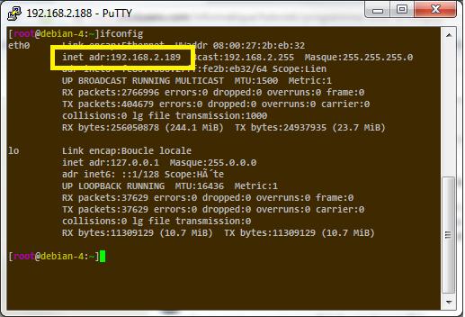 Adresse IP dans un terminal sous Linux