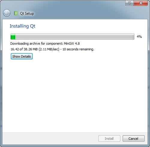 Téléchargement des fichiers... puis installation