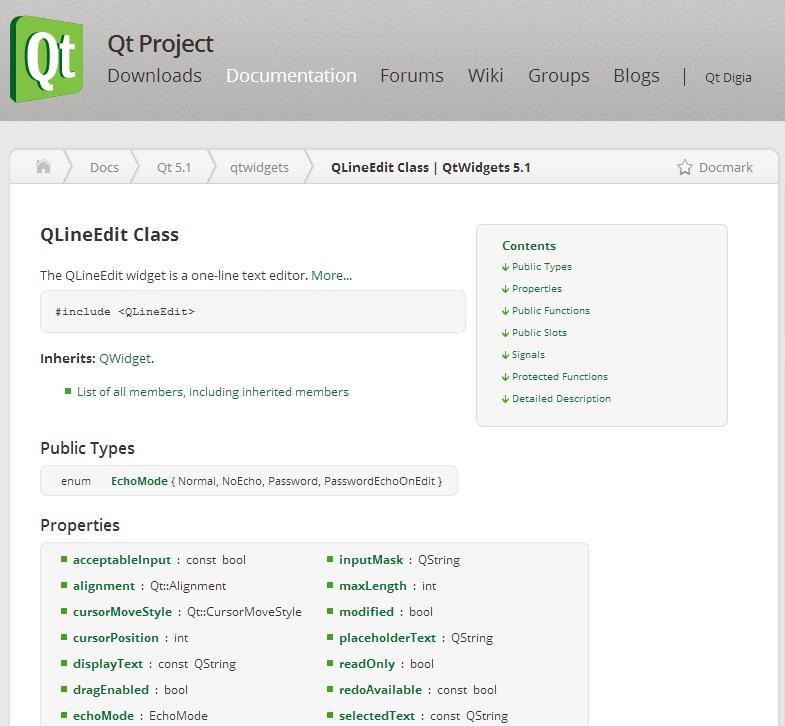 Documentation de QLineEdit