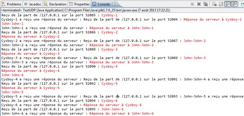 Client - serveur en UDP