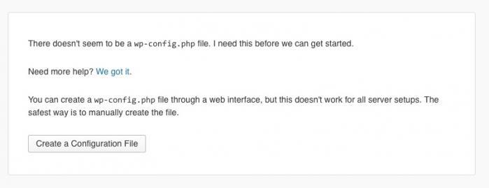 Le fichier wp-config.php est manquant