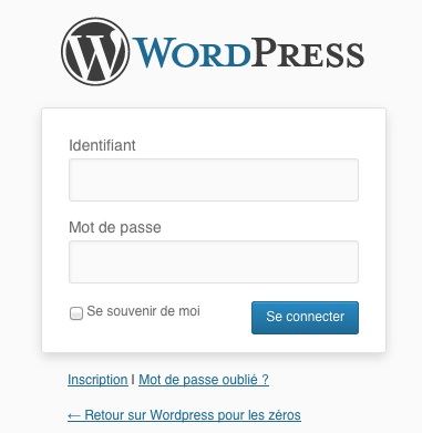 L'interface de connexion à WordPress