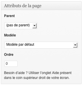 Les différents attributs de page