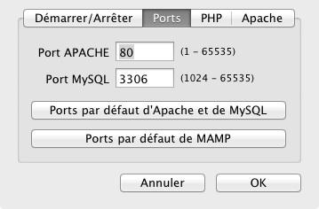 Les ports d'Apache et MySQL sont mis à jour