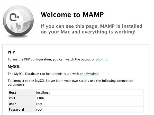 La page d'accueil de MAMP