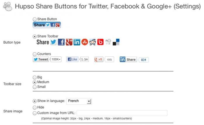 Quelques options pour la configuration des boutons