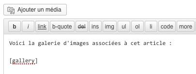 L'ajout du shortcode dans le contenu d'un article