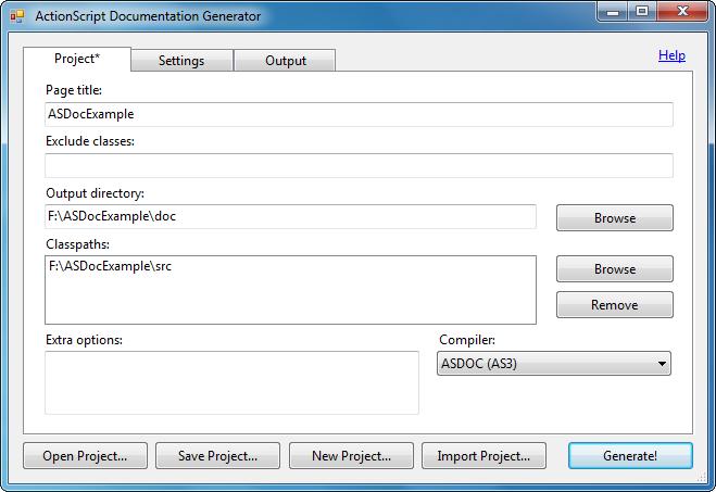 Interface pour le générateur de documentation