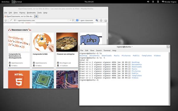 Ubuntu avec Gnome (Linux)