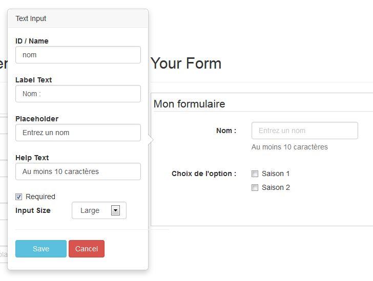 Un générateur de formulaire pour Bootstrap