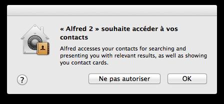 Alfred demande l'accès aux contatcs