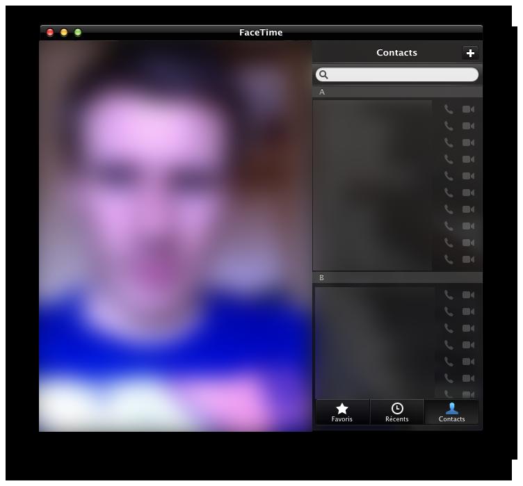 Écran principal de FaceTime