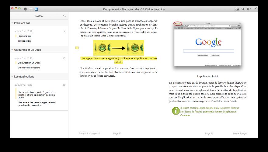 Liste des notes dans iBooks